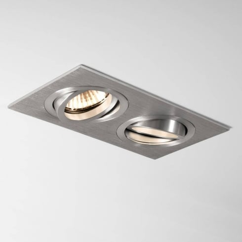 Astro Lighting Taro Twin 5649 Brushed Aluminium Adjustable GU10 Recessed Downlight 230V