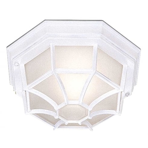 Searchlight Electric 2942WH Hexagonal Flush Outdoor Ceiling Light