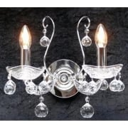 Concerto 1524/2P Chrome Wall Bracket With Crystal Peardrop Trimmings