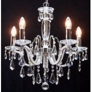 Mozart 603/5 Chrome Beaded Arm & New Pear Shape Trimmings Chandelier
