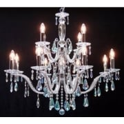 Mozart 605/12+6 Chrome With Aurora Borealis Peardrop Trimmings Chandelier