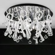 Class IL-IL50386 Chrome Crystal White Twenty Light Round Ceiling Light