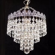 3 Tier Chandelier 166/8/1 Crystal Trimmings Ceiling Light