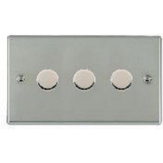 Hartland 733X40 Bright Chrome 3 gang 400W 2 Way Leading Edge Push On/Off Resistive Dimmer
