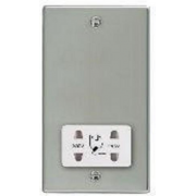 Hartland 73SHSW Bright Chrome Shaver Dual Voltage Unswitched Socket (Vertically Mounted)