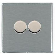 Linea-Duo CFX LD2X40BC-SS Satin Steel 2 gang 400W 2 Way Leading Edge Push On/Off Resistive Dimmer, max 300W per gang