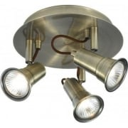 Eros 1223AB Antique Brass 3 Light Bar Ceiling Spot Light