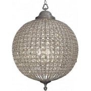 Round 036046 Large Crystal Chandelier with Pewter Banded Leaf Decoration