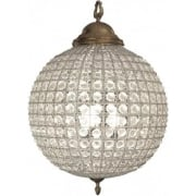 Round 036013 Medium Crystal Chandelier with Brass Banded Leaf Decoration