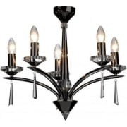 Hyperion HY0567 Black Chrome/Crystal Sconce 5 Light Dual Mount Pendant