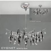 Cygnet IL-IL50416 Chrome Black Glass and Crystal Twenty Four Light Flush Telescopic Oval Pendant