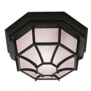Searchlight Electric 2942BK Hexagonal Flush Outdoor Ceiling Light