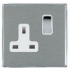Hamilton Litestat Linea-Duo CFX LDSS1BC-SSW Satin Steel 1 gang 13A Double Pole Switched Socket