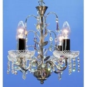 Chandelier 34/4 Chrome With Crystal Sconces & Aurora Borealis Trimmings Pendant