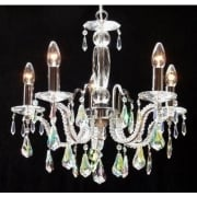 Mozart 605/5 Chrome With Aurora Borealis Peardrop Trimmings Chandelier