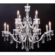 Mozart 603/12+6 Chrome Beaded Arm & New Pear Shape Trimmings Chandelier