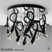 Class IL-IL50381 Chrome Crystal Black 10 Light Round Ceiling Light