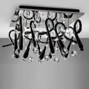 Class IL-IL50383 Chrome Crystal Black Ten Light Square Flush Ceiling Light