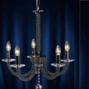 Elena IL-IL30475 Black Chrome Crystal Five Light Pendant Ceiling Fitting