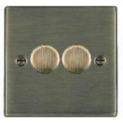 Hartland 792X40 Antique Brass 2 gang 400W 2 Way Leading Edge Push On/Off Resistive Dimmer, max 300W per gang