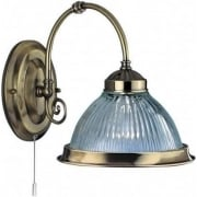 American Diner 9341-1 Antique Brass With Clear Ribbed Glass Wall Light