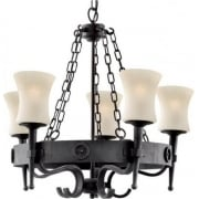 Cartwheel 0815-5BK Wrought Iron With Scavo Glass Pendant