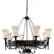 Cartwheel 0818-8BK Wrought Iron With Scavo Glass Pendant