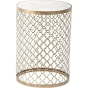 Empire Iron 213494 Quatrefoil Round Lamp Table with Mirror Top