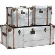 Bardem 233053 Set of Three Antique Silver Metal Trunk Cases