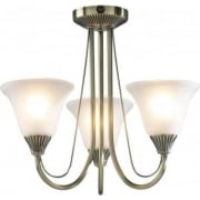 Boston BOS03 Antique Brass 3 Light Ceiling Light