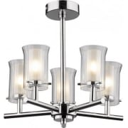 Elba ELB0550 IP44 5 Light Semi Flush Polished Chrome Ceiling Fitting