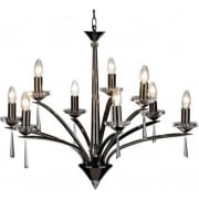 Hyperion HYP1367 Black Chrome/Crystal Sconce 9 Light Dual Mount Pendant