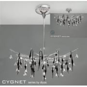 Cygnet IL-IL50416 Chrome Black Glass and Crystal Twenty Four Light Flush Telescopic Oval Pendant