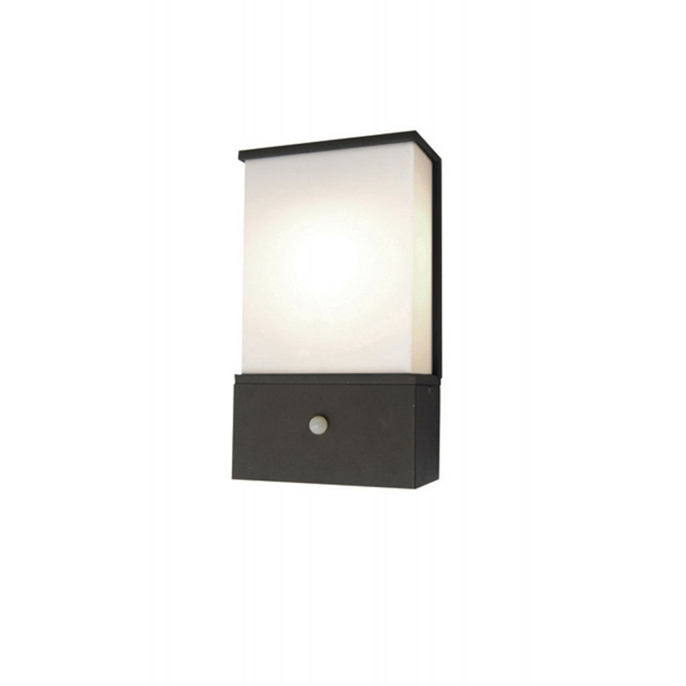 External Wall Lights Pir : Elstead Lighting Azure Low Energy 6 Dark Grey Outdoor Wall Light PIR