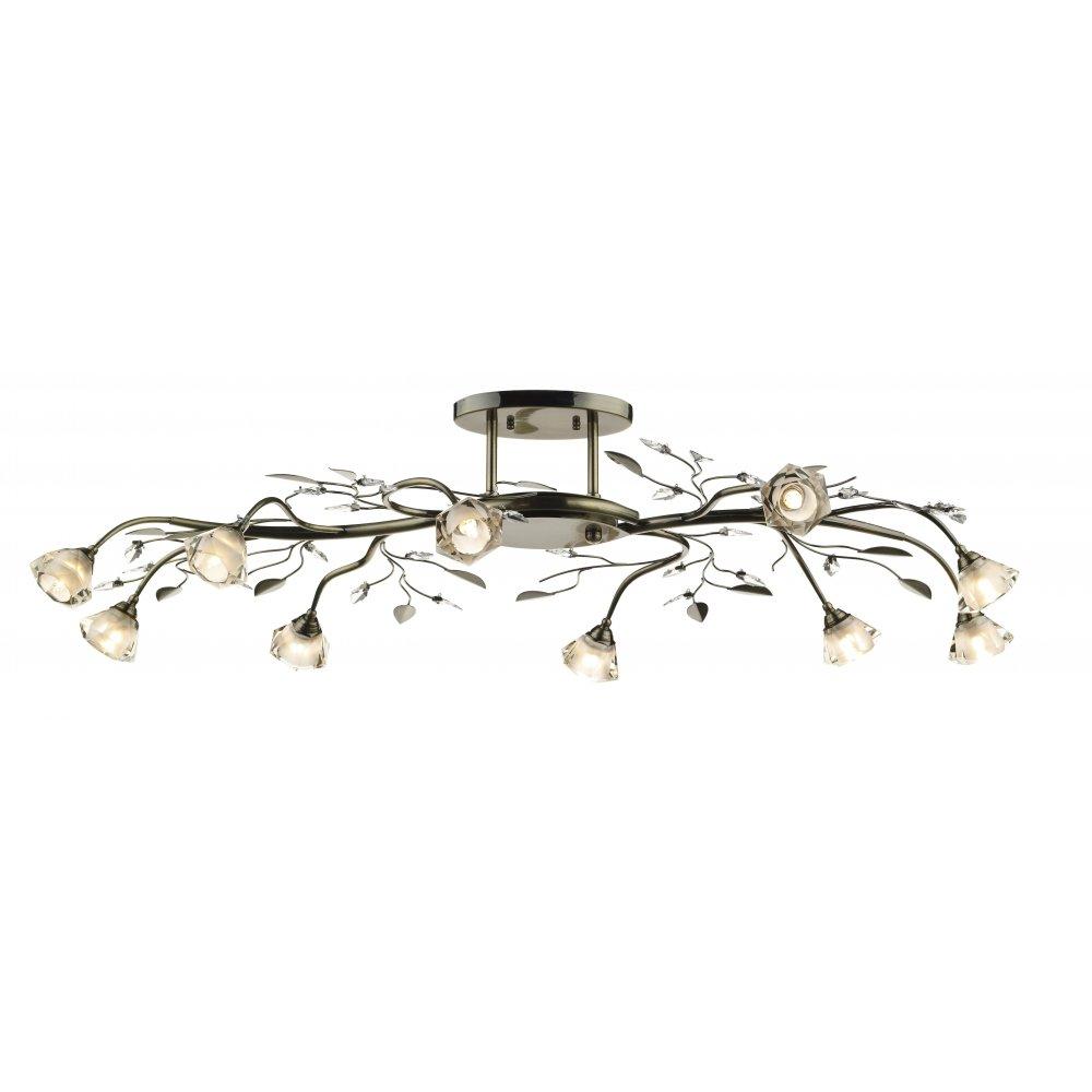 dar lighting farnham far2375 antique brass 10 light flush