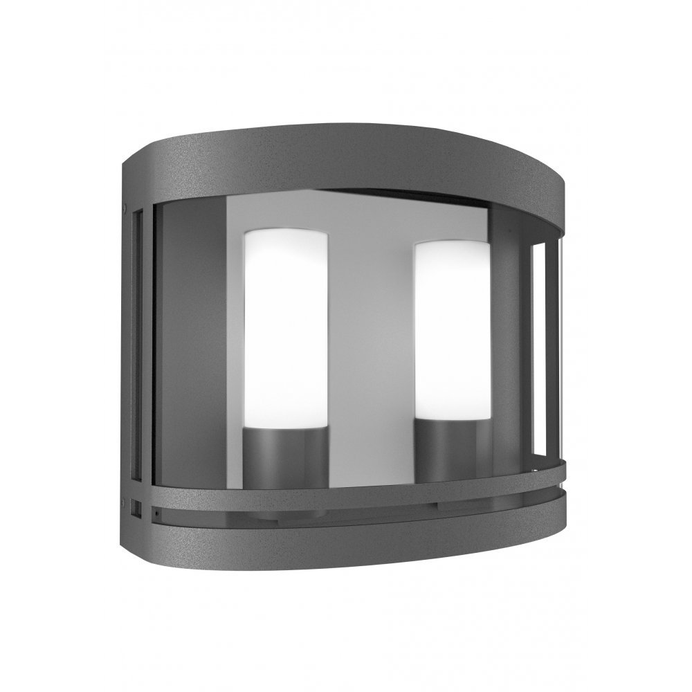 Grey Glass Wall Lights : LedsC4 Lighting Sophie 05-9510-Z5-37 Urban Grey Aluminium With Transparent Glass Wall Light