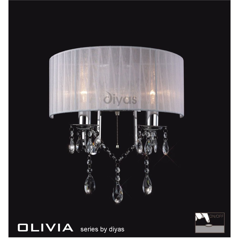 Crystal Wall Lamp Shades : Diyas UK Olivia IL-IL30061/WH Polished Chrome Crystal Twin Light Wall Light with White Shade