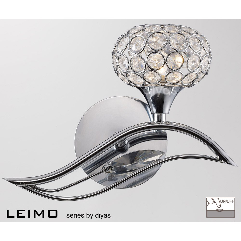 Diyas UK Leimo IL-IL30951/R Polished Chrome Crystal Single Light Switched Wall Light Right Hand