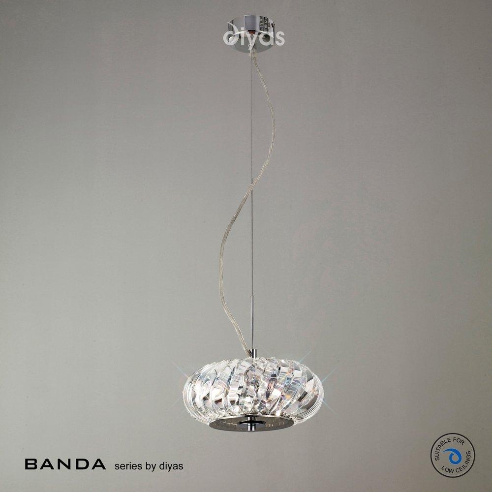 Diyas UK Banda IL30083 Polished Chrome Crystal 3 Light Pendant