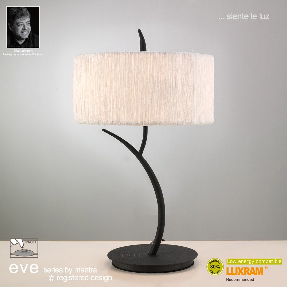 Mantra Spain Eve M1157 Anthracite Twin Light Table Lamp With White Shade