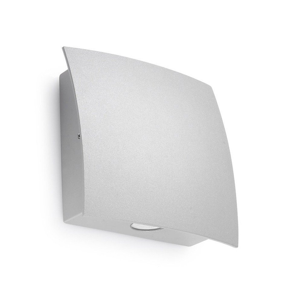 Wall Light Glass Diffuser : LedsC4 Lighting Surf 05-9483-34-37 Light Grey Aluminium With Transparent Glass Diffuser Wall Light