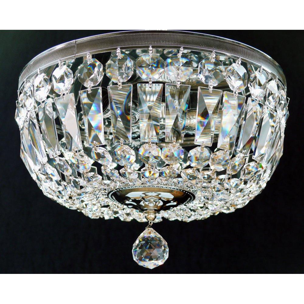 fantastic lighting flush baguette with reflector plate 522 30 3 full lead crystal trimmings. Black Bedroom Furniture Sets. Home Design Ideas