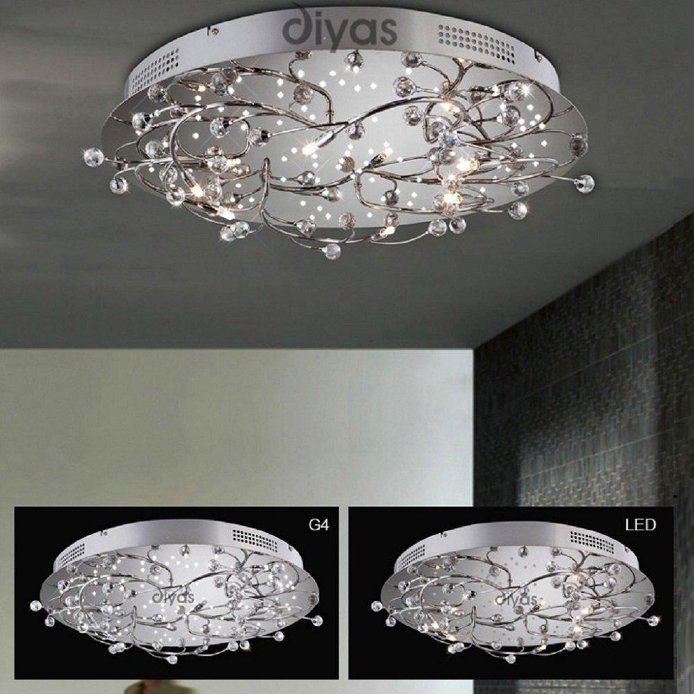Diyas Uk Fia Il30637 Polished Chrome Crystal 6 Light Led Round Ceiling Fitting