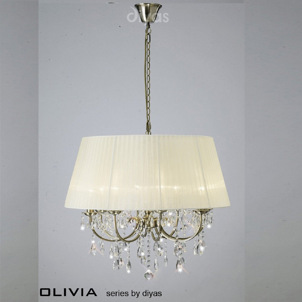 Diyas UK Olivia IL-IL30057/CR Antique Brass Crystal Eight Light Pendant  Ceiling Fitting
