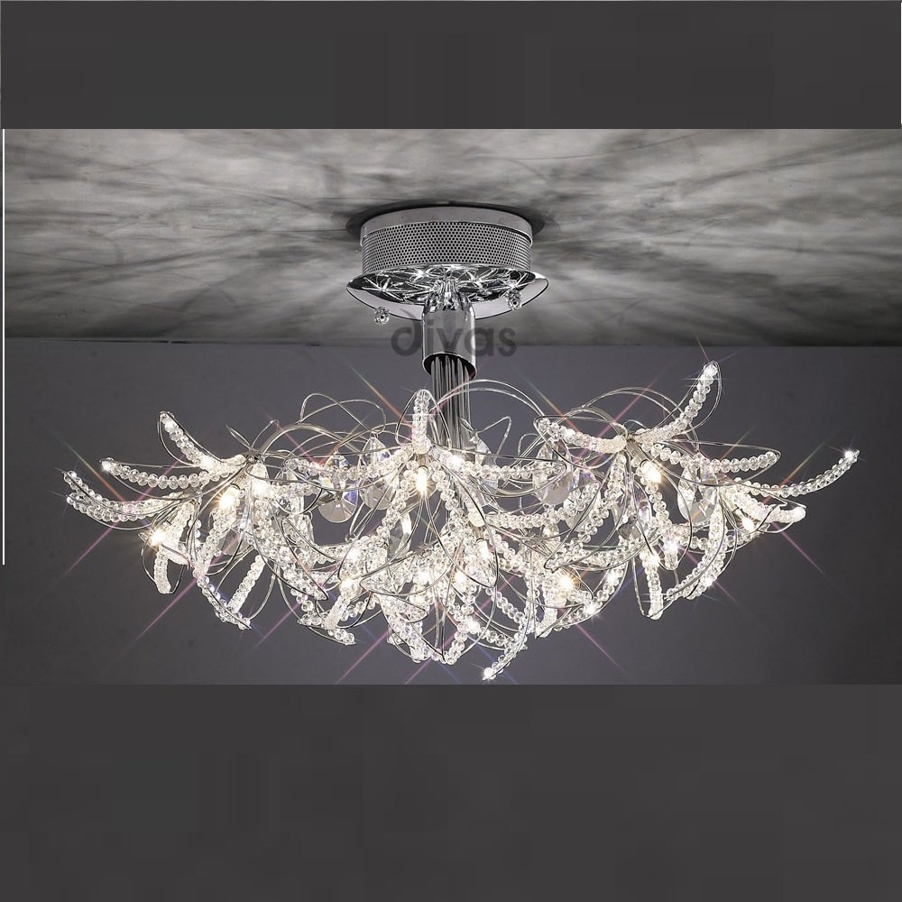 Diyas UK Kenzo IL-IL30880 Polished Chrome Crystal Twenty Four Light Ceiling Light