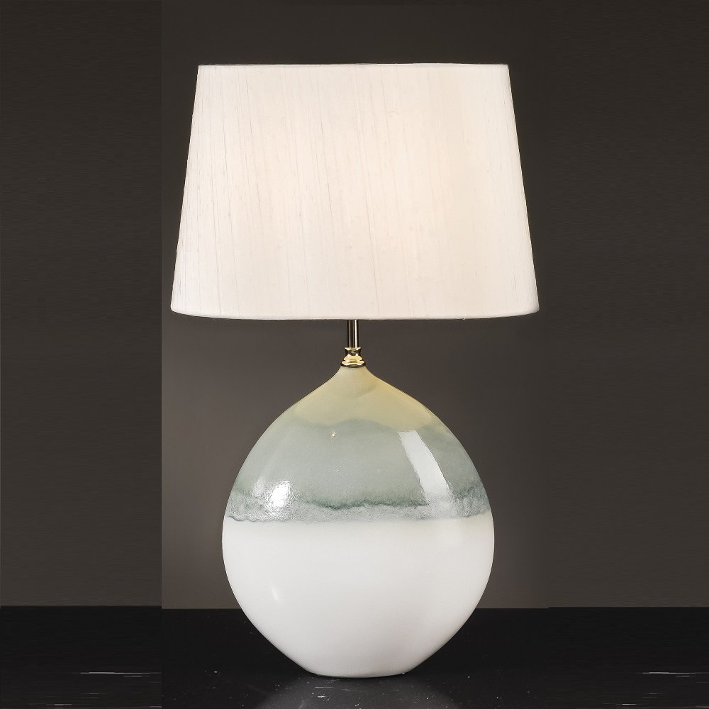 Elstead Lighting Serena Cream Amp Turquoise Table Lamp Large
