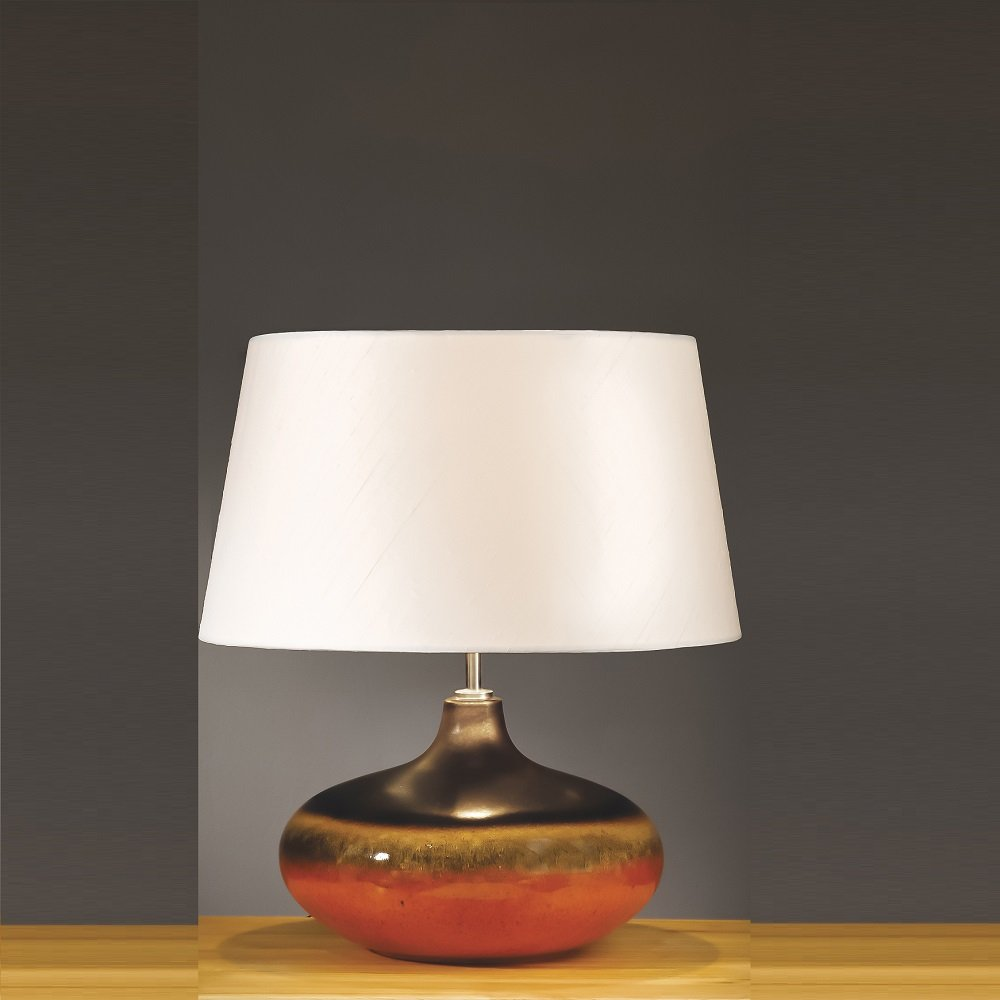 Elstead lighting colorado brown orange table lamp small for Brown table lamp shades