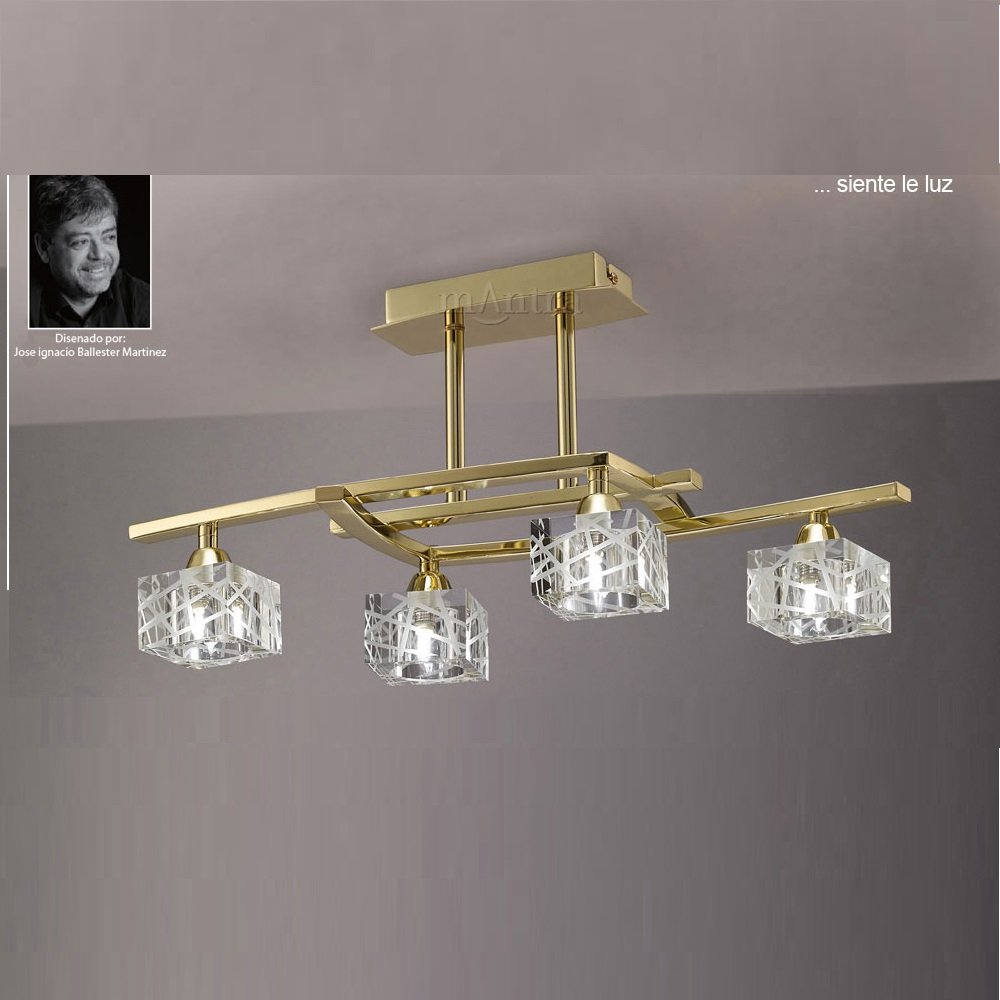 Mantra Spain Zen M1440pb Polished Brass Semi Flush 4 Light