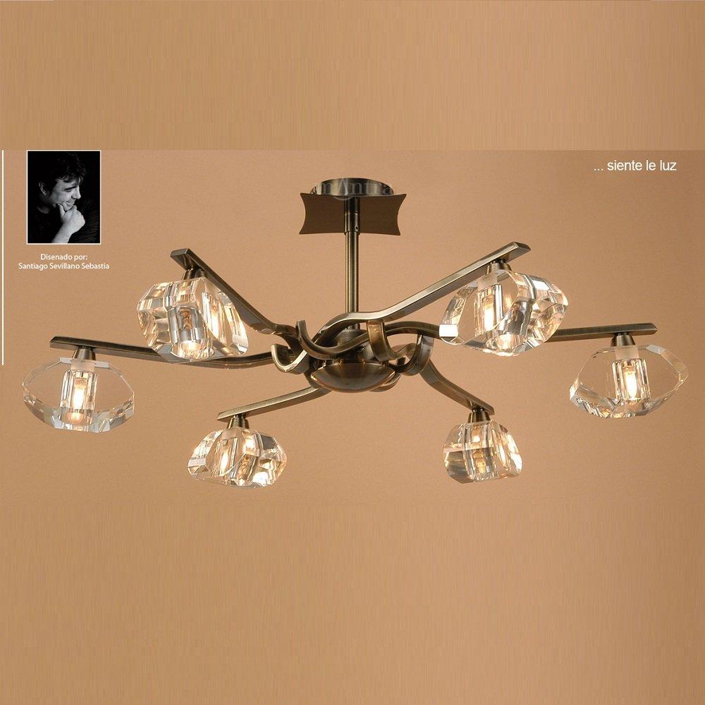 Mantra spain alfa m0413ab antique brass semi 6 light ceiling light mozeypictures Gallery