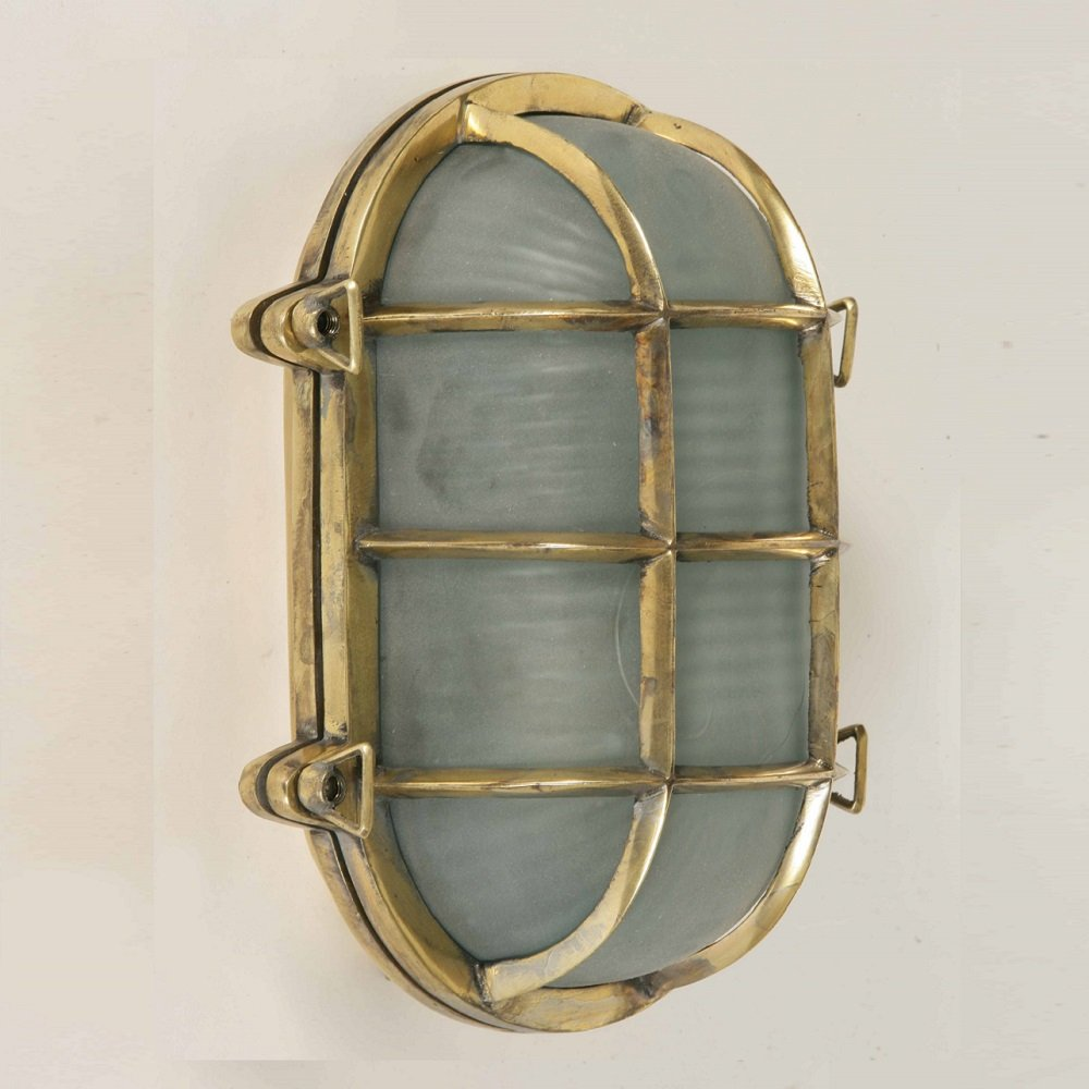 The Limehouse Lamp Company Oval Ships Bulkheads 445 Polished Brass Flush Wall Lamp
